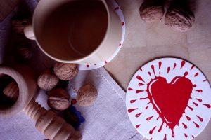 """Glasunderlägg ur serien """"Valentin"""" – hjärta"""